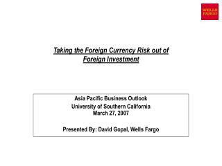 Taking the Foreign Currency Risk out of  Foreign Investment