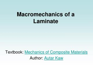 Macromechanics of a Laminate