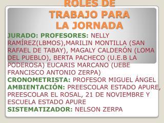 ROLES DE TRABAJO PARA LA JORNADA