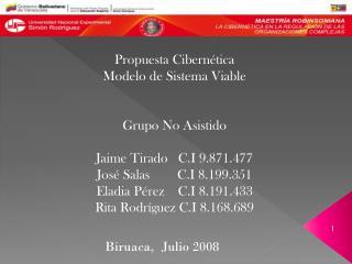 Propuesta Cibernética Modelo de Sistema Viable Grupo No Asistido Jaime Tirado   C.I 9.871.477