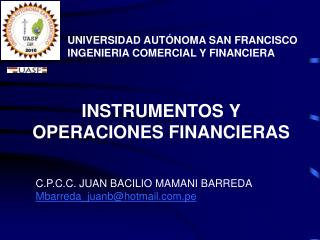 INSTRUMENTOS Y OPERACIONES FINANCIERAS