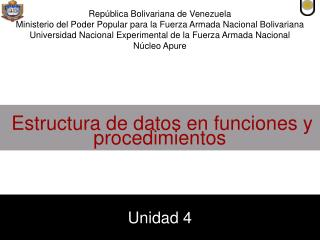 Estructura de datos en funciones y procedimientos