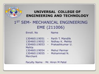 UNIVERSAL  COLLEGE OF  ENGINEERING AND TECHNOLOGY