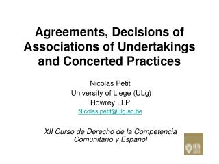 Agreements, Decisions of Associations of Undertakings and Concerted Practices