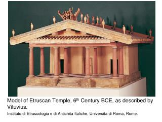 Model of Etruscan Temple, 6 th  Century BCE, as described by  Vituvius .