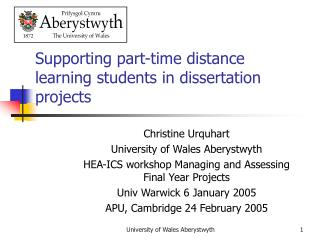 Supporting part-time distance learning students in dissertation projects