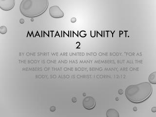 Maintaining Unity pt. 2