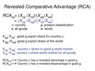 Revealed Comparative Advantage (RCA)