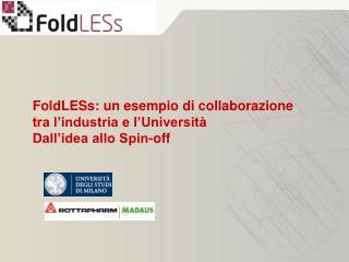 FoldLESs: un esempio di collaborazione tra l'industria e l'Università Dall'idea allo Spin-off