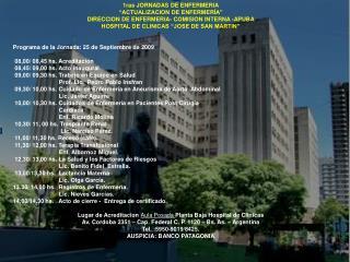 "1ras JORNADAS DE ENFERMERIA ""ACTUALIZACION DE ENFERMERÍA"""