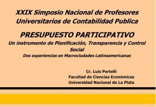 XXIX Simposio Nacional de Profesores Universitarios de Contabilidad Publica