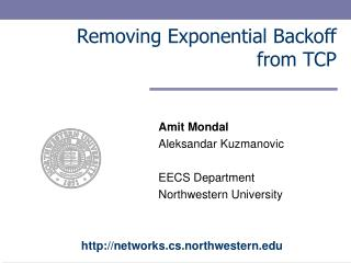 Removing Exponential Backoff from TCP
