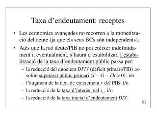 Taxa d'endeutament: receptes