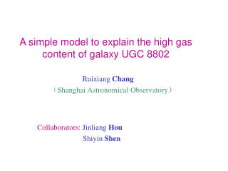 A simple model to explain the high gas content of galaxy UGC 8802