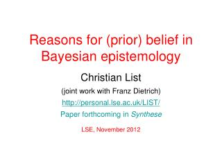 Reasons for (prior) belief in Bayesian epistemology