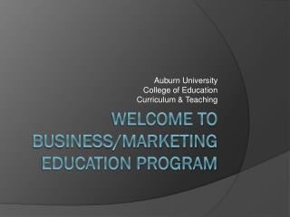 Welcome to Business/Marketing Education Program