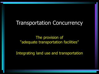 Transportation Concurrency