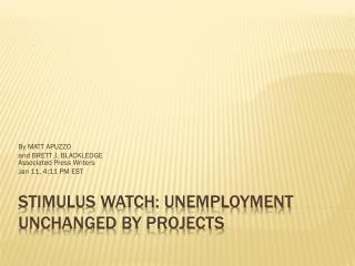 STIMULUS WATCH: Unemployment unchanged by projects
