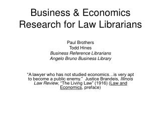 Business & Economics Research for Law Librarians