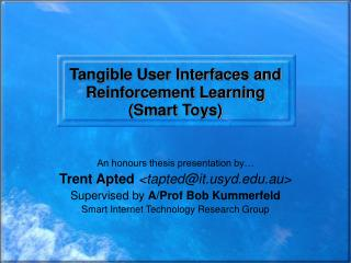 Tangible User Interfaces and Reinforcement Learning (Smart Toys)