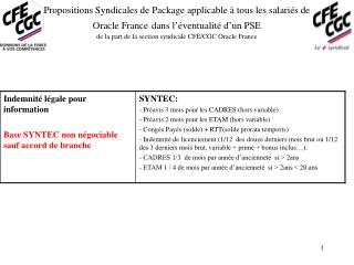 Propositions Syndicales de Package applicable   tous les salari s de Oracle France dans l  ventualit  d un PSE de la par