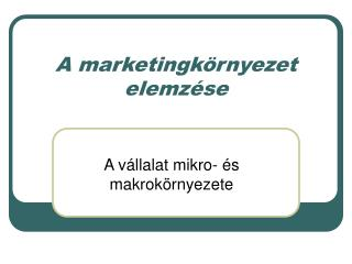 A marketingk rnyezet elemz se