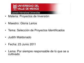 Materia:  Proyectos de Inversión Maestro:  Gloria Larios