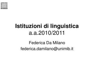Istituzioni di linguistica a.a.2010/2011