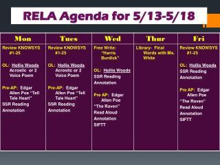 RELA Agenda for 5/13-5/18