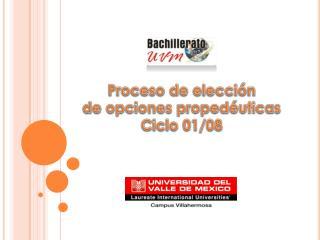 Proceso de elección de opciones propedéuticas Ciclo 01/08