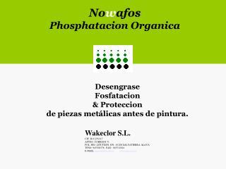Desengrase Fosfatacion  & Proteccion de piezas metálicas antes de pintura.