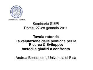 Seminario SIEPI Roma, 27-28 gennaio 2011 Tavola rotonda