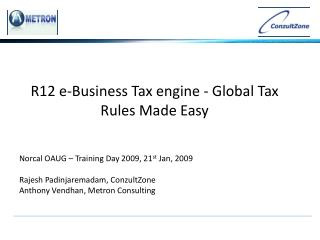 R12 e-Business Tax engine - Global Tax Rules Made Easy