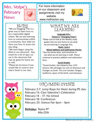 Mrs.  Volpe�s  February News