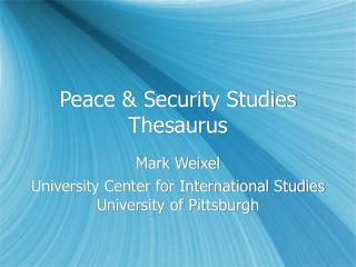 Peace & Security Studies Thesaurus