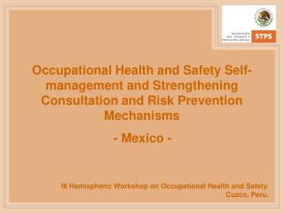 III Hemispheric Workshop on Occupational Health and Safety. Cuzco, Peru .