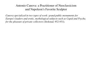 Antonio Canova: a Practitioner of Neoclassicism  and Napoleon's Favorite Sculptor