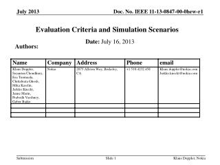 Evaluation Criteria and Simulation Scenarios
