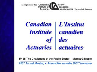 IP-35 The Challenges of the Public Sector – Marcia Gillespie