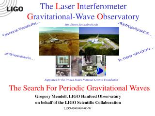 The Search For Periodic Gravitational Waves