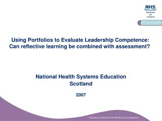 National Health Systems Education  Scotland 2007
