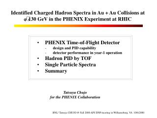 PHENIX Time-of-Flight Detector design and PID capability detector performance in year-1 operation
