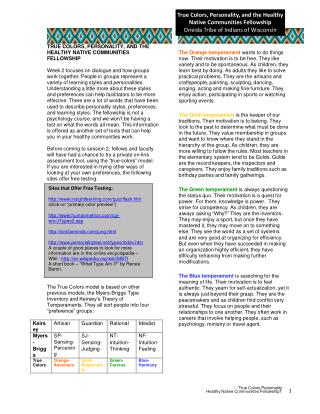 True  Color s Personality  Health y  Nativ e  Communitie s Fellowship1 1
