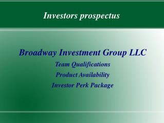 Investors prospectus
