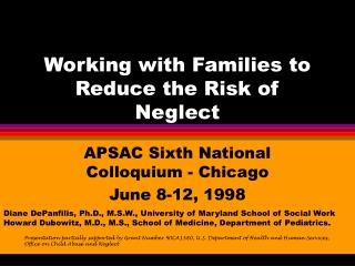 Working with Families to Reduce the Risk of Neglect