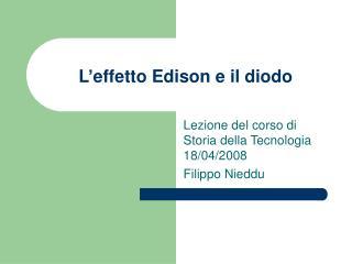 L'effetto Edison e il diodo