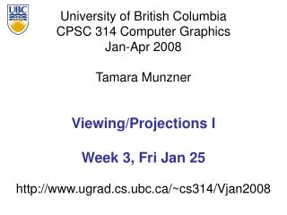 Viewing/Projections I Week 3, Fri Jan 25