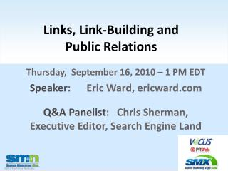 Links, Link-Building and  Public Relations