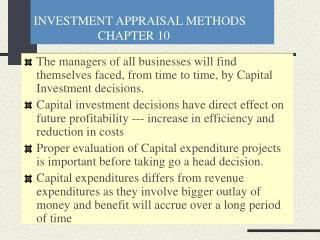 INVESTMENT APPRAISAL METHODS CHAPTER 10