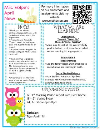 Mrs.  Volpe�s  April News
